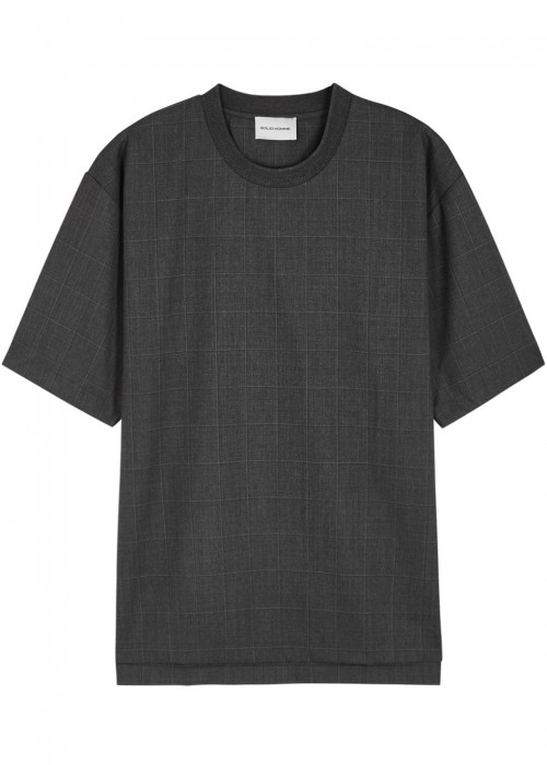 SOLID HOMME CHARCOAL CHECKED WOOL T-SHIRT