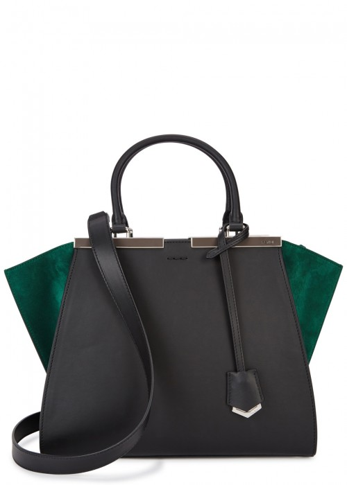 3Jours Suede And Leather Tote, Black