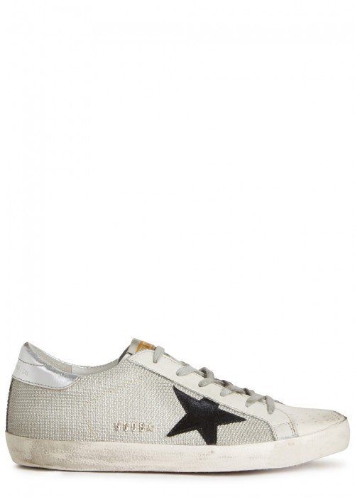Golden Goose  WHITE EMBROIDERED LEATHER TRAINERS