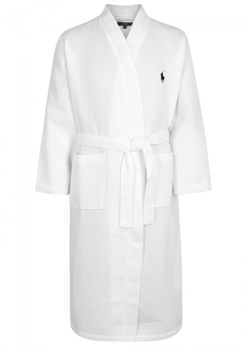 fbca15e836 Velvety soft cotton shapes a comfy robe with long sleeves