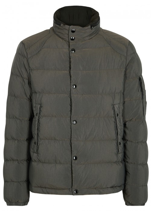 C.P. COMPANY DARK GREY QUILTED SHELL JACKET