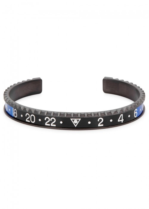 SPEEDOMETER OFFICIAL BLACK AND BLUE MARINE STEEL BRACELET