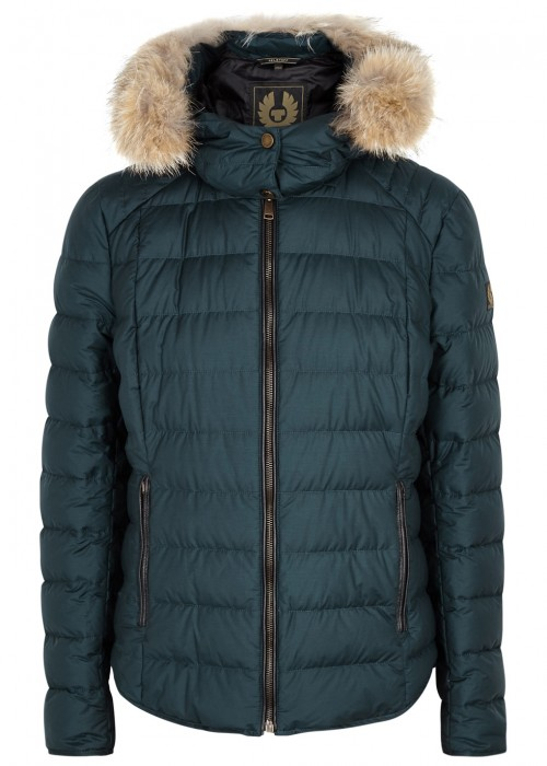 Belstaff AVEDON TEAL FUR-TRIMMED QUILTED JACKET