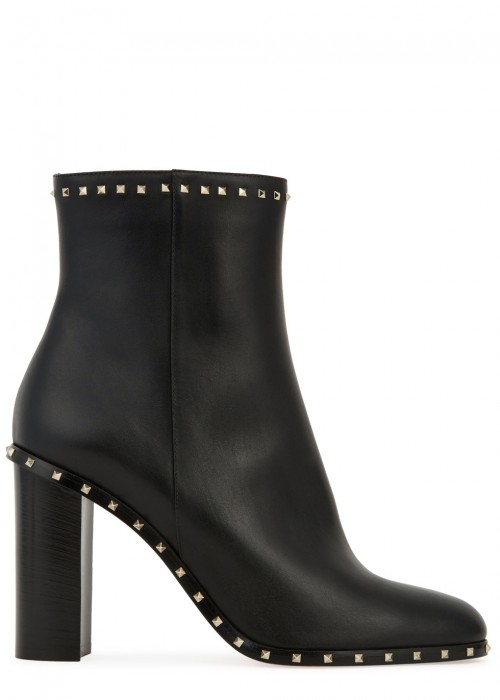 Valentino  ROCKSTUD 90 BLACK LEATHER ANKLE BOOTS