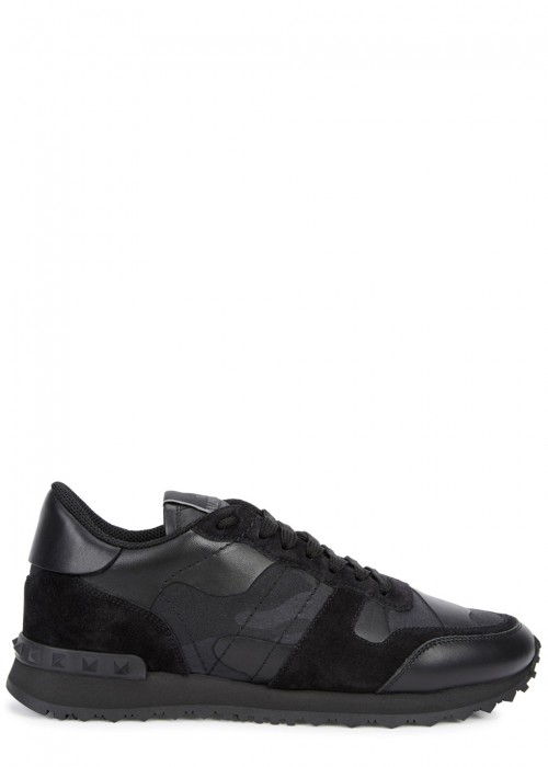 Valentino  CAMOUFLAGE LEATHER AND CANVAS TRAINERS