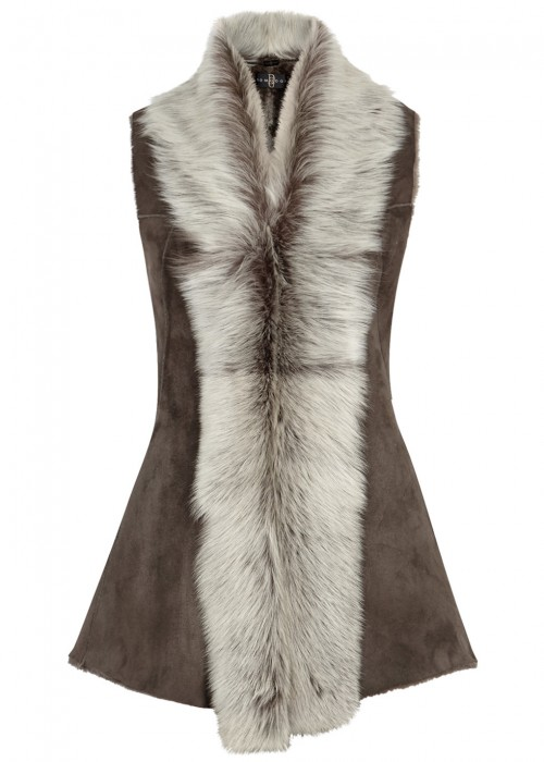 DOM GOOR CHOCOLATE BROWN SHEARLING GILET