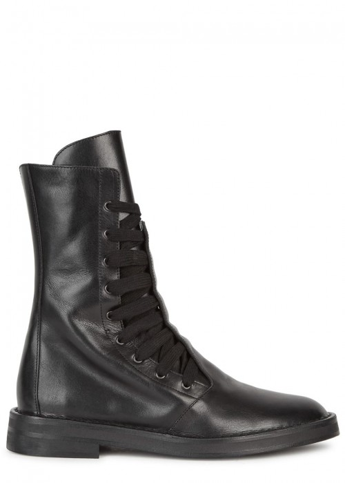 Ann Demeulemeester  BLACK LEATHER ANKLE BOOTS