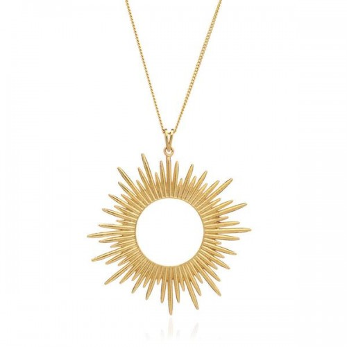 Sunrays Long Necklace In Gold from Wolf & Badger