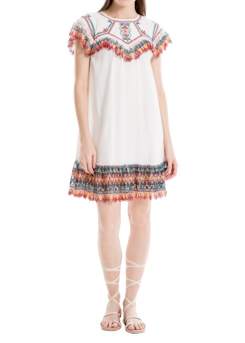 LEON MAX Embroidered Gauze Short-Sleeve Dress in Cream