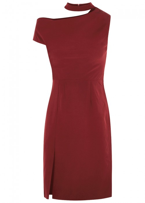 Finders Keepers MESSAGE BURGUNDY MINI DRESS