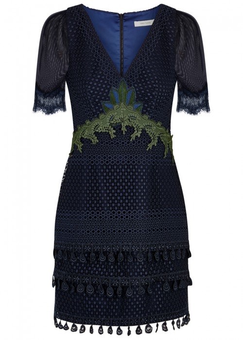 Three Floor VALENTINE NAVY GUIPURE LACE DRESS