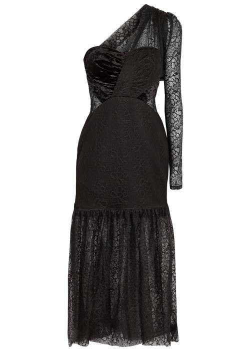 Three Floor BOLD ONE-SHOULDER VELVET AND LACE MIDI DRESS