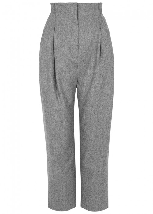 Anna October GREY HIGH-WAISTED WOOL TROUSERS