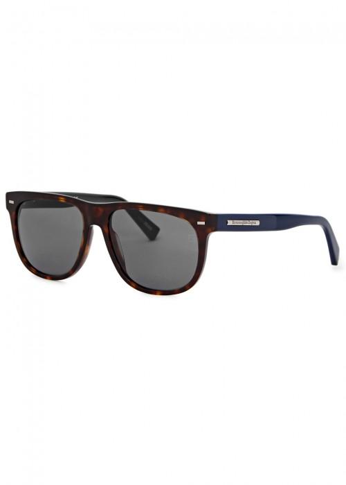 Tortoiseshell Square-Frame Sunglasses, Havana