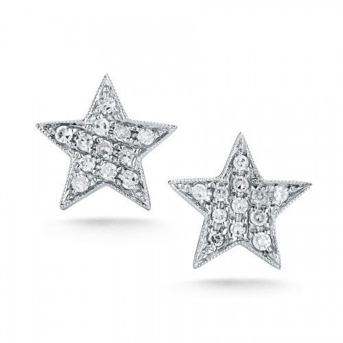 DANA REBECCA 14Ct White Gold White Diamond Star Earrings