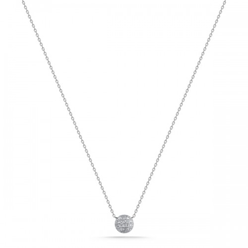 DANA REBECCA White Diamond Disc Necklace
