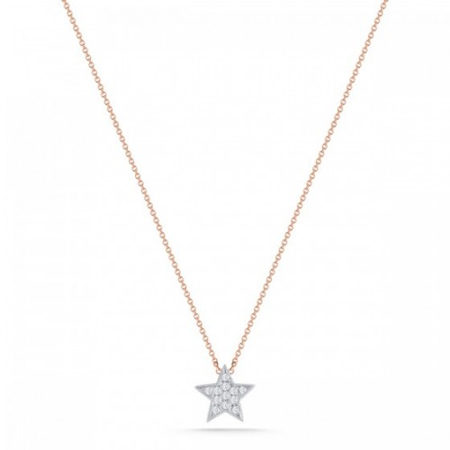 DANA REBECCA 14Ct Yellow Gold White Diamond Star Necklace