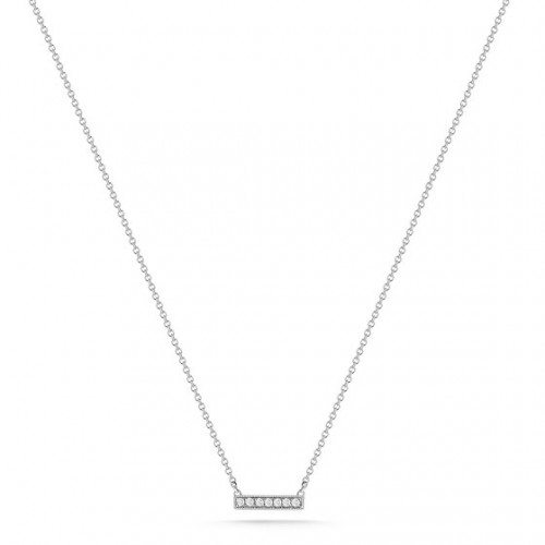 DANA REBECCA 14Ct White Gold White Diamond Mini Bar Necklace