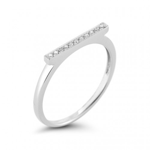 DANA REBECCA 14CT WHITE DIAMOND BAR RING
