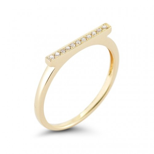 DANA REBECCA 14Ct Yellow Diamond Bar Ring