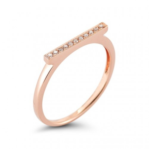 DANA REBECCA 14CT ROSE DIAMOND BAR RING