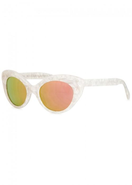 Agnes Cat-eye Acetate Mirrored Sunglasses - White Roberi & Fraud 8EmaRHUw8