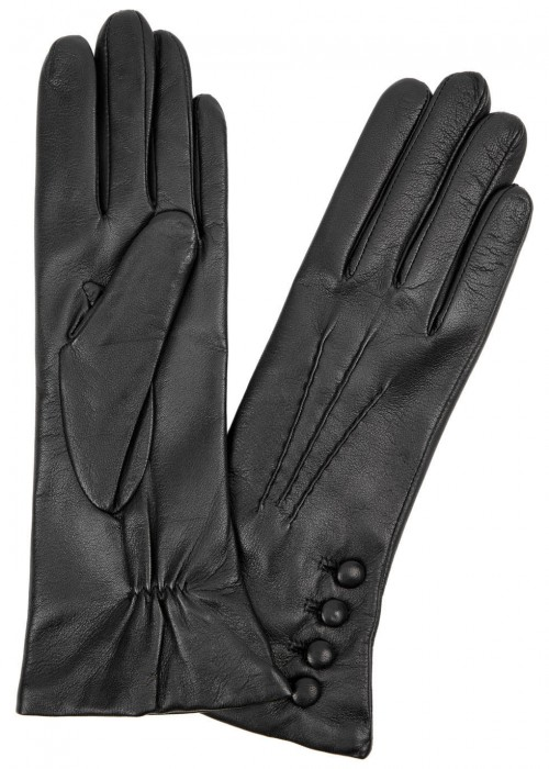 DENTS Evelyn Cashmere-Lined Leather Gloves in Black And Red
