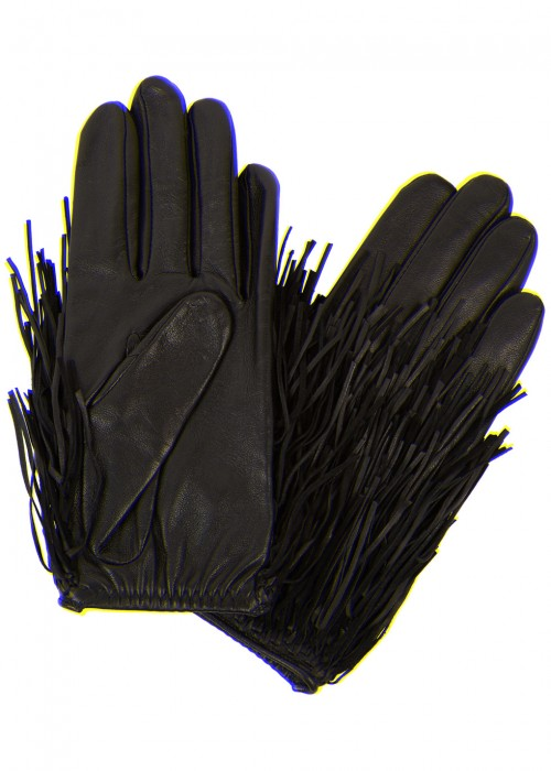 Agnelle FRINGED LEATHER AND SUEDE GLOVES