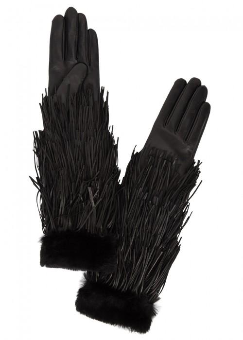 Agnelle LONG BLACK FRINGED LEATHER GLOVES