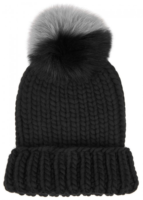 89759dbd6f3 Eugenia Kim Rain Fur Pompom Wool Beanie In Black