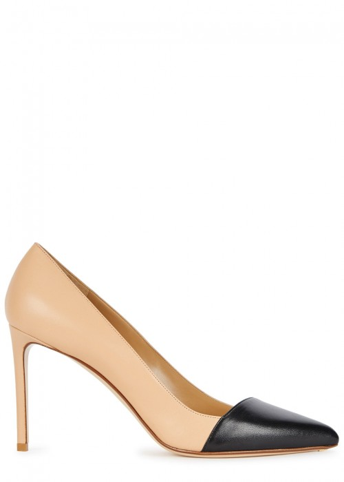 105Mm Angled Cap-Toe Leather Pump in Sand