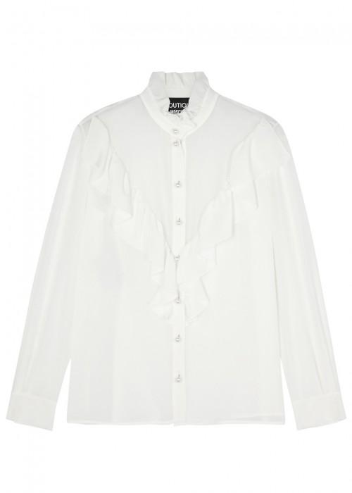 Boutique Moschino  WHITE RUFFLE-TRIMMED SILK CHIFFON BLOUSE