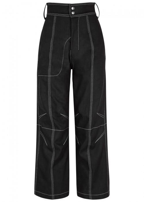 Vejas BLACK HIGH-RISE WIDE-LEG JEANS