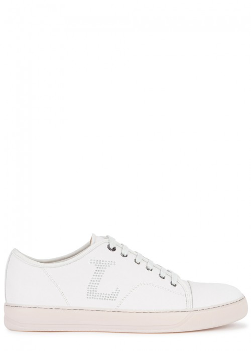 Lanvin  LIGHT GREY PERFORATED SUEDE TRAINERS