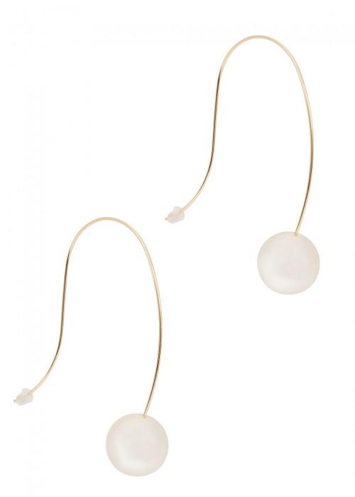 Gold Tone Faux Pearl Drop Earrings