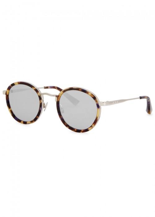 Zero Tortoiseshell Round-Frame Sunglasses in Brown