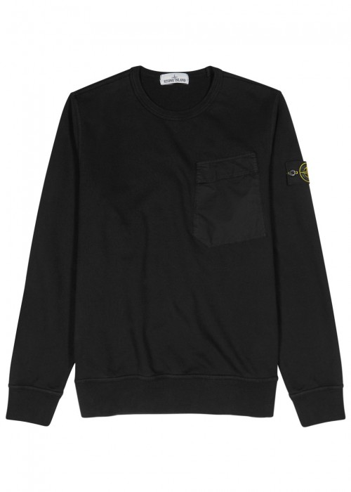 Stone Island  POCKET BLACK COTTON SWEATSHIRT