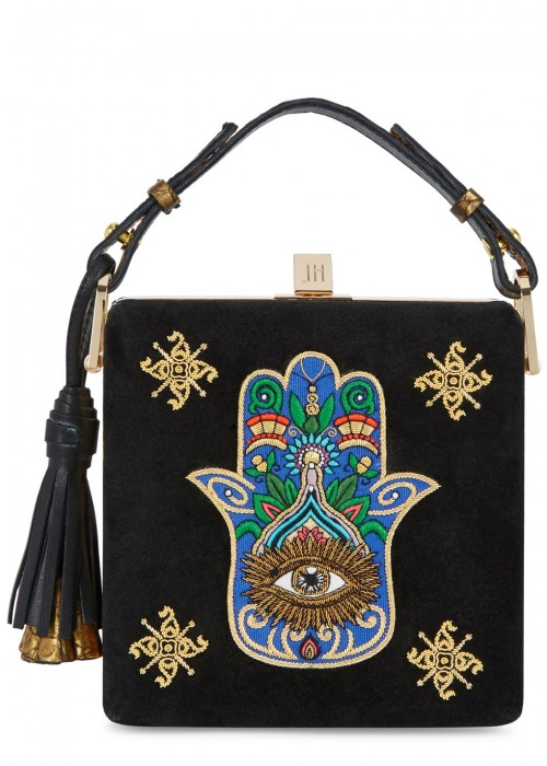 JILL HABER CHARLES EMBROIDERED SUEDE BOX BAG