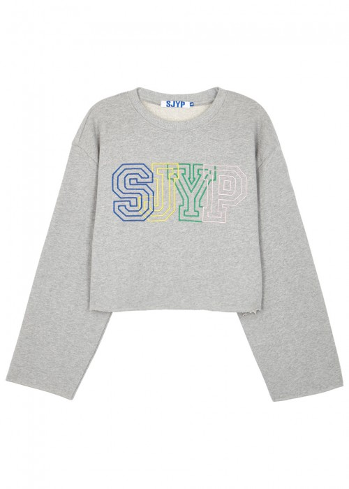 Sjyp GREY LOGO-EMBROIDERED CROPPED SWEATSHIRT