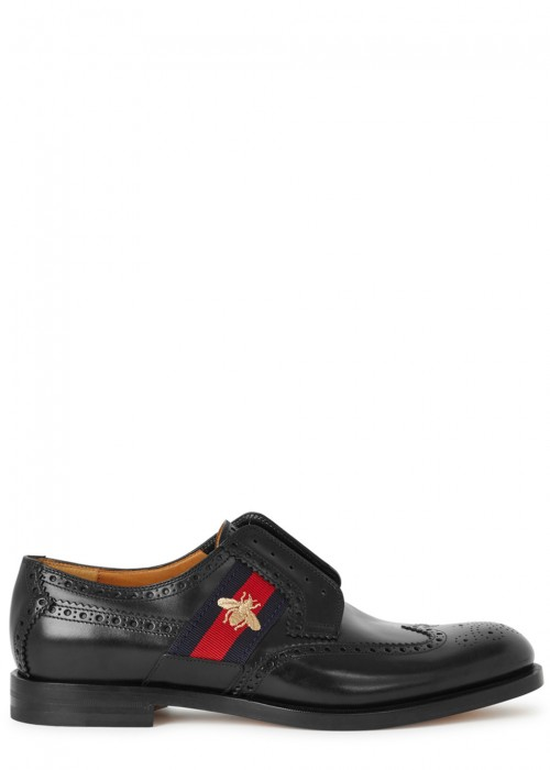 Gucci  BLACK GLOSSED LEATHER BROGUES