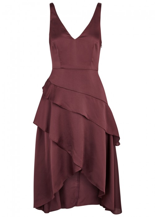 Finders Keepers SEASONS PLUM TIERED SATIN DRESS