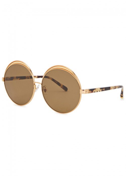 S4 ROUND-FRAME GOLD-PLATED SUNGLASSES