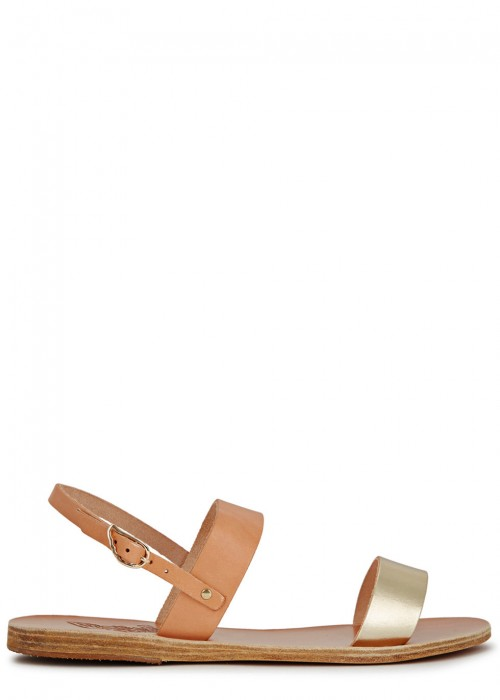 Ancient Greek Sandals  CLIO PEACH AND PALE GOLD LEATHER SANDALS