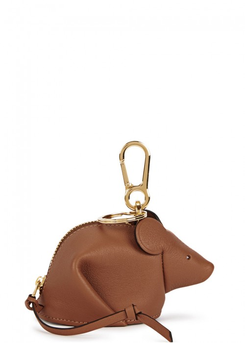 MOUSE BROWN LEATHER COIN PURSE
