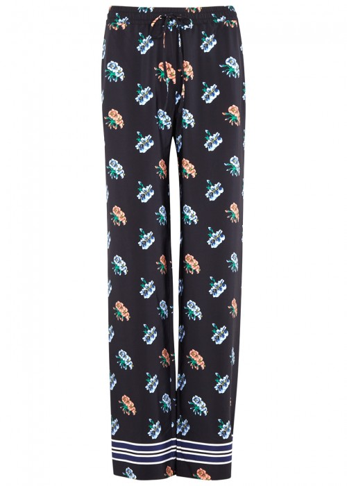 Markus Lupfer AGNES FLORAL-PRINT SILK TROUSERS