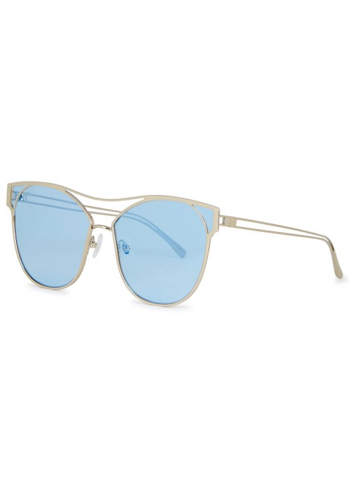 94d9caa8d20 For Art S Sake Portrait Silver Tone Cat-Eye Sunglasses In Blue ...