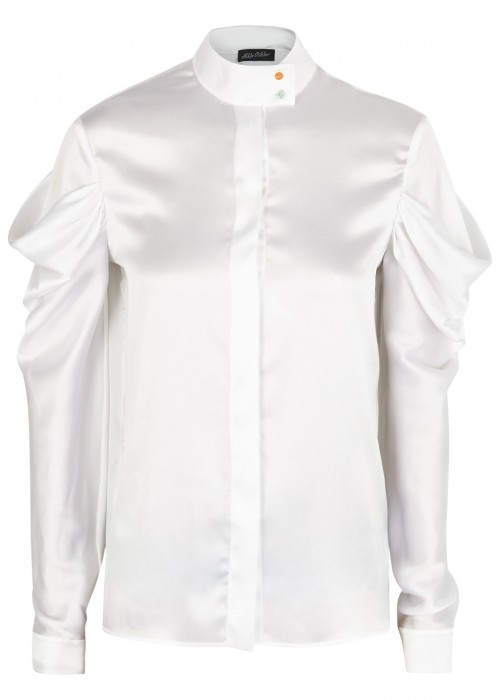 Anna October WHITE HIGH COLLAR SILK SHIRT