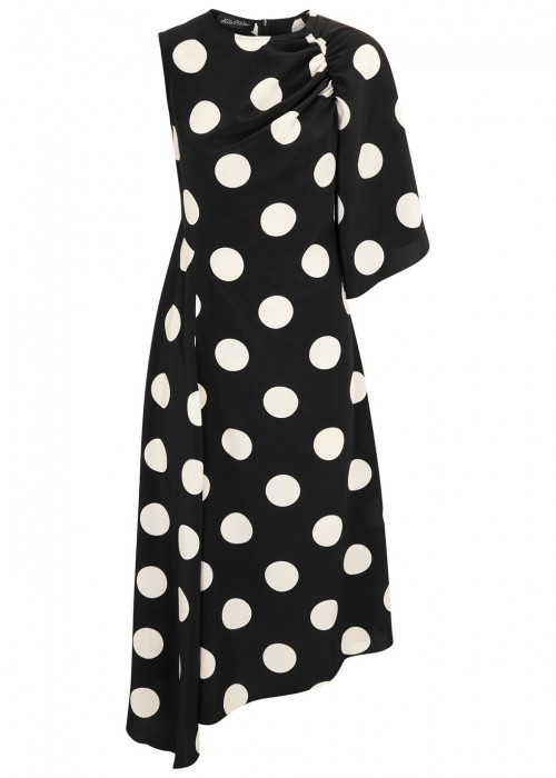 Anna October POLKA-DOT BRUSHED SATIN MIDI DRESS