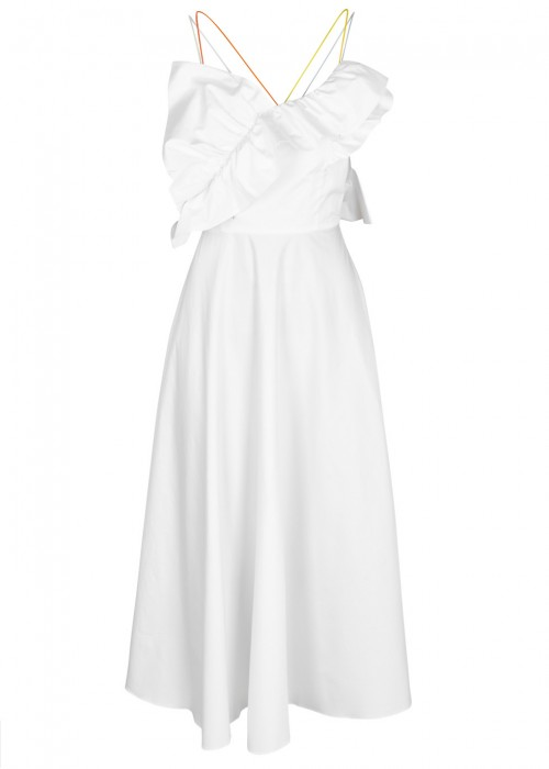 Anna October WHITE RUFFLE-TRIMMED COTTON DRESS