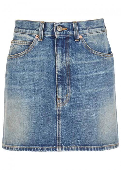 Blue Denim Embroidered Cat Miniskirt